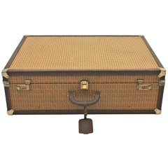 Large 1970s Fendi Zucca Pattern Epi Leather Vintage Luxury Hard Trunk Suitcase