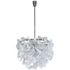 Large 1970s Kalmar Chandelier, Murano Glass and Chrome
