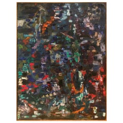 Large 1970s Multicolored Abstract Oil Painting on Canvas