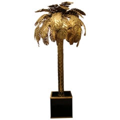 Large 1970s Palm Tree Floor Lamp by Maison Jansen