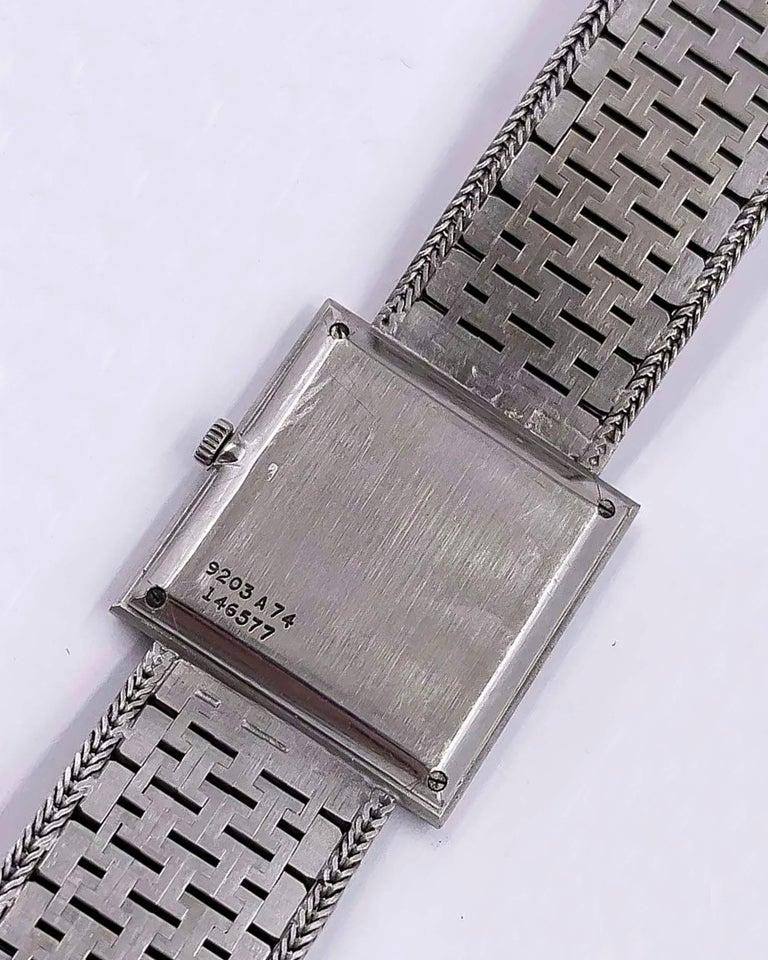 Large 1970s Piaget 18kt Double Diamond Row Roman Numeral Textured Bracelet Watch For Sale 4