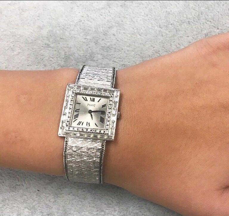 Large 1970s Piaget 18kt Double Diamond Row Roman Numeral Textured Bracelet Watch For Sale 5