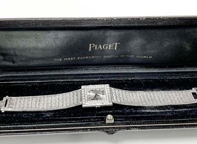 Large 1970s Piaget 18kt Double Diamond Row Roman Numeral Textured Bracelet Watch For Sale 1