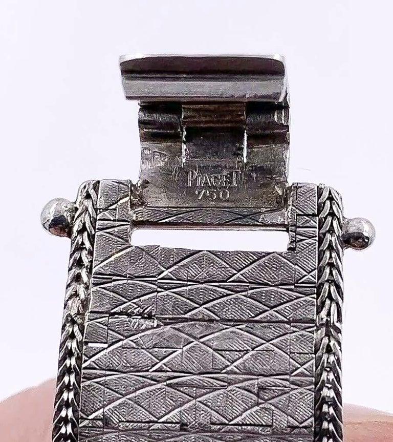 Large 1970s Piaget 18kt Double Diamond Row Roman Numeral Textured Bracelet Watch For Sale 3