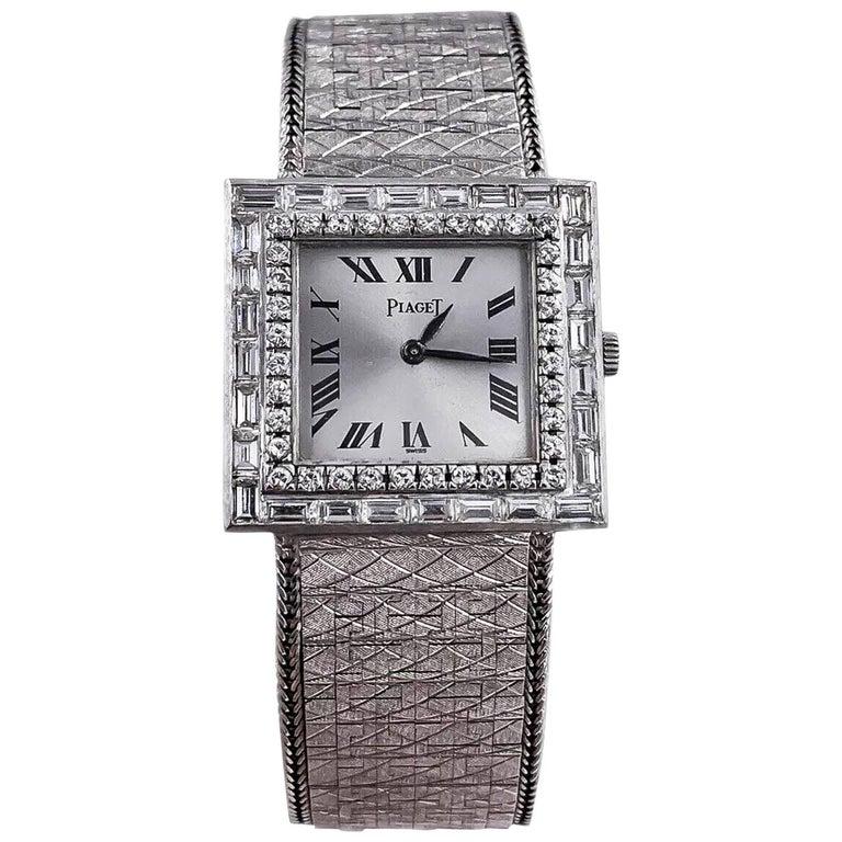 Large 1970s Piaget 18kt Double Diamond Row Roman Numeral Textured Bracelet Watch For Sale