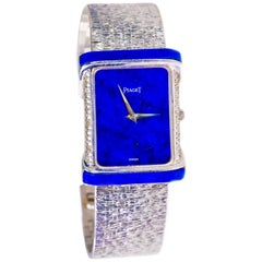 Large 1970s Piaget Lapis 18 Karat White Gold Diamond Set Bracelet Watch
