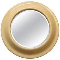 Large 1970s Round Goatskin Mirror