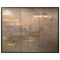 Large 1970s Sculptural Wall Panel in Brushed and Chromed Steel