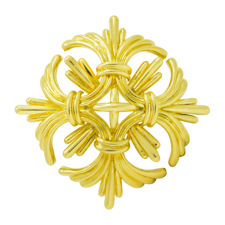 Large 1970's Tiffany & Co. Vintage 18 Karat Yellow Gold Maltese Cross Brooch