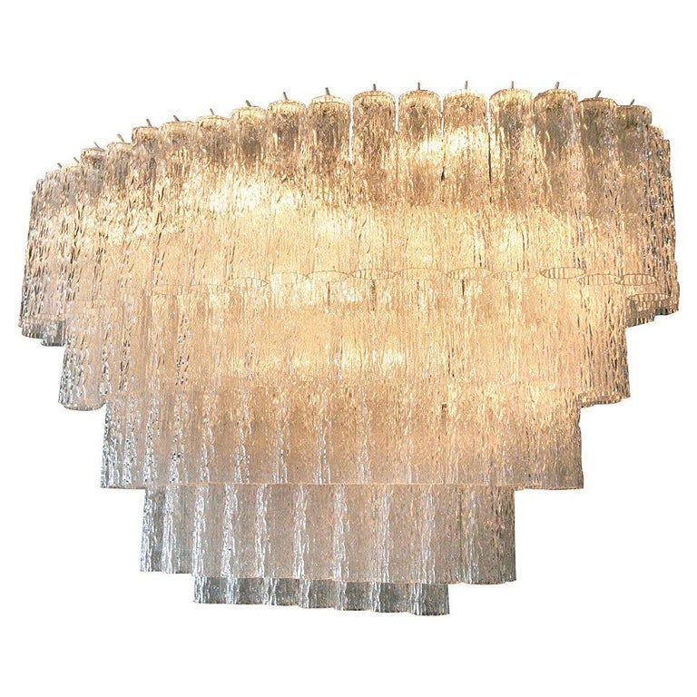 Large 1970s Venini Murano Clear Glass Chandelier with Five Tiers For Sale
