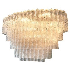Large 1970s Venini Murano Clear Glass Chandelier with Five Tiers