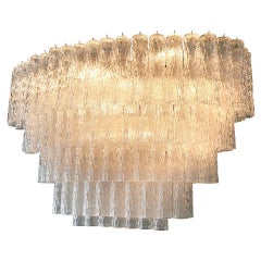 Large 1970s Venini Murano Glass Chandelier with Five Tiers
