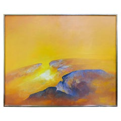 Large 1975 Byron Galvez Abstract Rocas Oil Painting on Canvas
