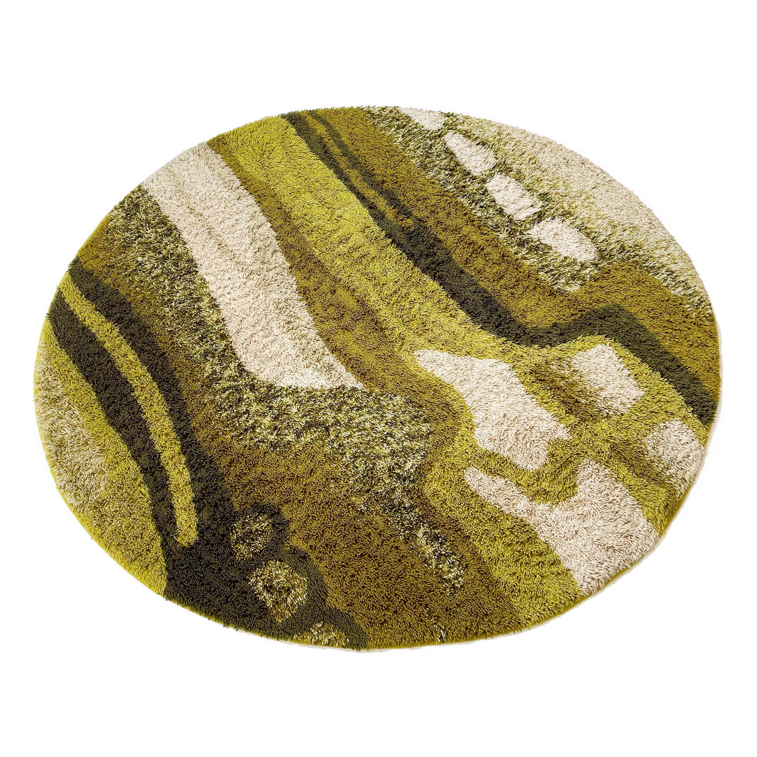 Large Psychedelic 197cm Green High Pile Rya Rug Carpet Desso, Netherlands, 1970s