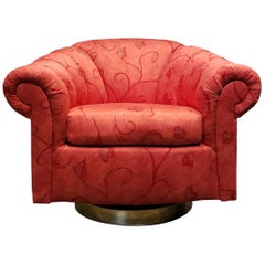 Large 1980s Channel Tufted Scalloped Swivel Club Chair