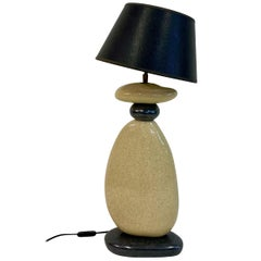 Large 1980s French Ceramic Pebble Table Light by Francois Chatain