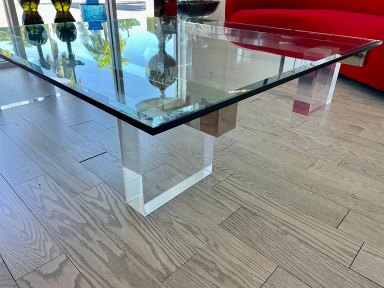 Late 20th Century Large 1980s Lucite and Steel Coffee Table For Sale