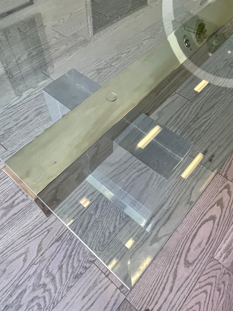 Stainless Steel Large 1980s Lucite and Steel Coffee Table For Sale