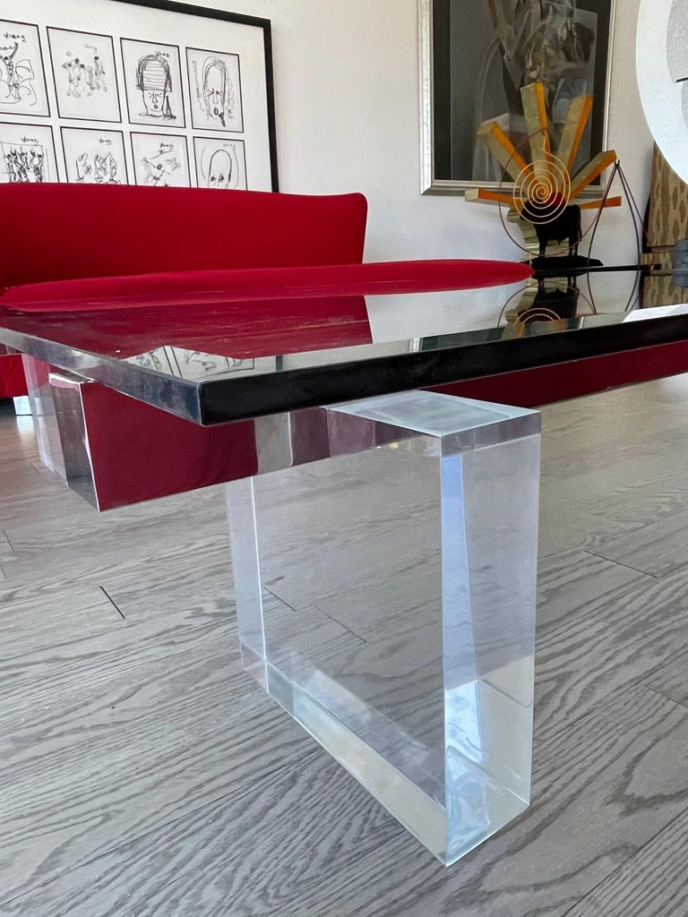 Large 1980s Lucite and Steel Coffee Table For Sale 1
