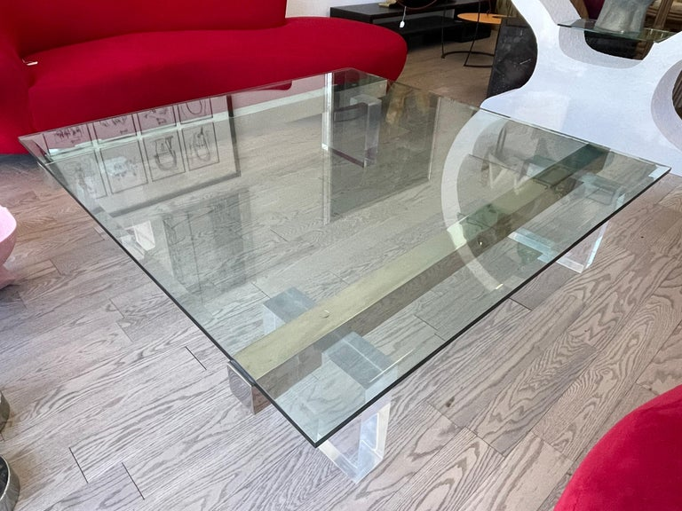 Large 1980s Lucite and Steel Coffee Table For Sale 2