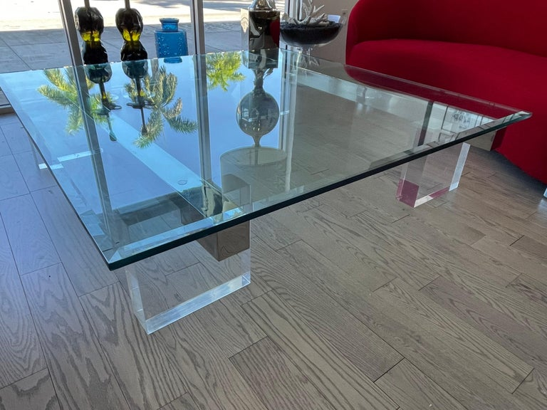 Large 1980s Lucite and Steel Coffee Table For Sale 3