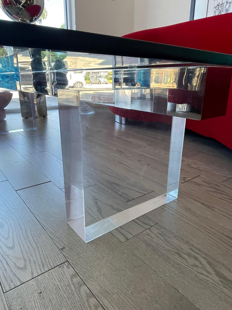 Large 1980s Lucite and Steel Coffee Table For Sale 4