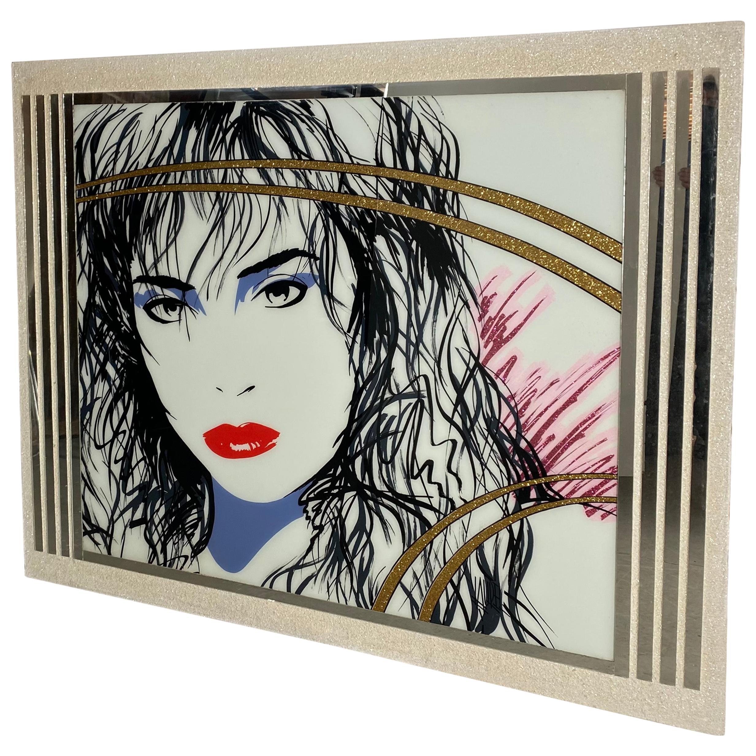 Large 1980s Pop Art, Reverse Painted Mirror, Signed Laurel, after Patrick Nagel