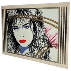 Large 1980s Pop Art, Reverse Painted Mirror, Signed Laurel, after Patrick Nagel