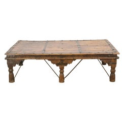 Large 19C Rustic Indian Carved Wood Coffee Table