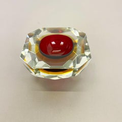 Large 1,9kg Murano Glass Faceted Sommerso Bowl Element Ashtray Murano Italy 1970