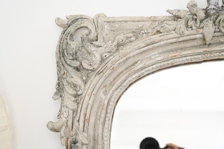 European Large 19th C. Carved and Painted Mirror For Sale