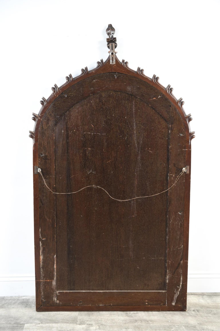 Large 19th Century Carved Oak Gothic Revival Mirror 4