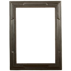 Large 19th C Dutch Style Ebonized Carved Wood Frame/Mirror