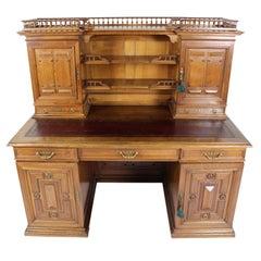Large 19th Century French Gentlemen's Walnut Desk by Hertenstein