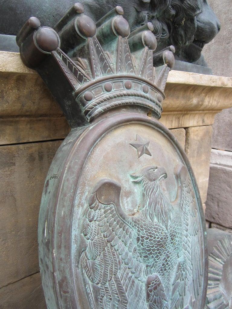 Imperial Crest Antique Shield Coat of Arm Wall Plaque Armorial LA Antique Dealer For Sale 5