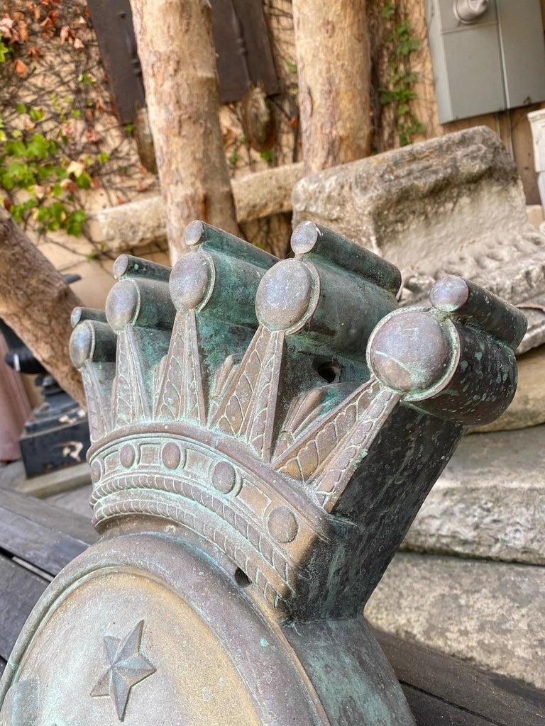 Empire Imperial Crest Antique Shield Coat of Arm Wall Plaque Armorial LA Antique Dealer For Sale