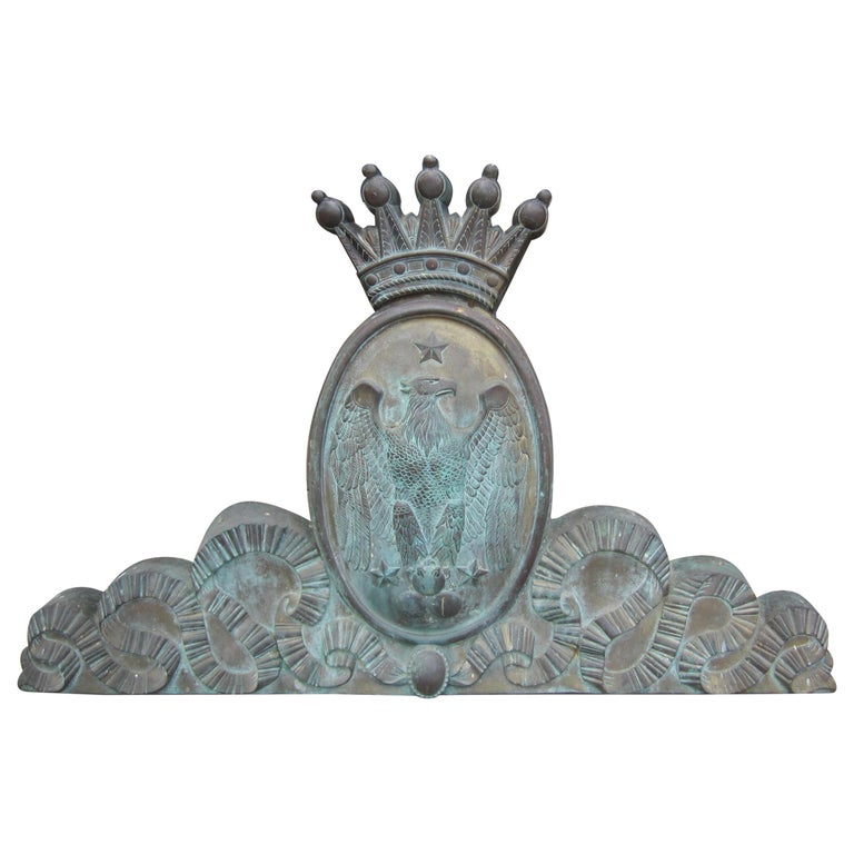 Imperial Crest Antique Shield Coat of Arm Wall Plaque Armorial LA Antique Dealer For Sale