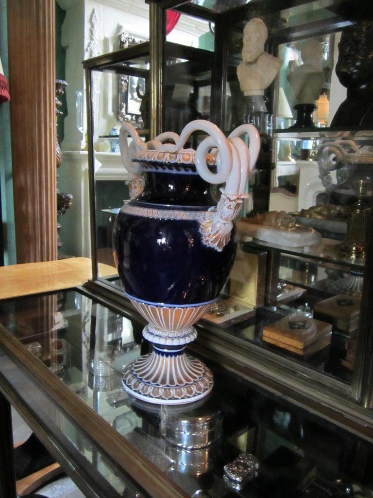 Large Meissen Porcelain Gilt Cobalt Vase Urn Centerpiece Decorative LA For Sale 4