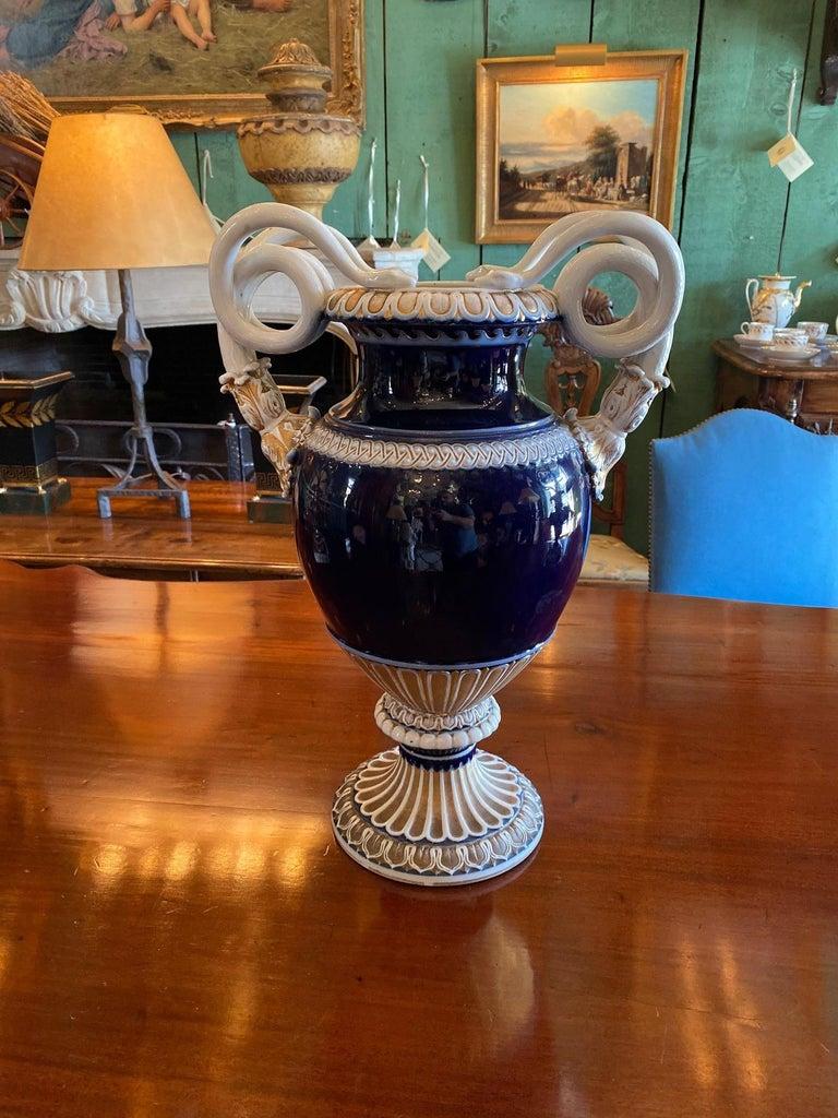 Large Meissen Porcelain Gilt Cobalt Vase Urn Centerpiece Decorative LA For Sale 6