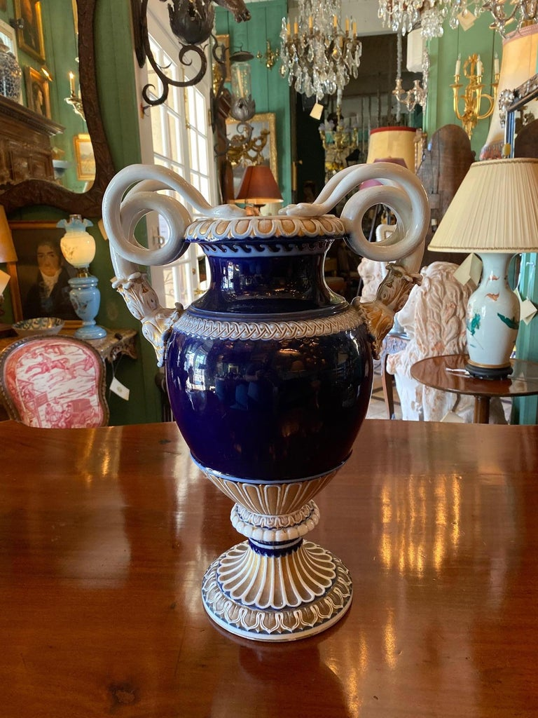 Large Meissen Porcelain Gilt Cobalt Vase Urn Centerpiece Decorative LA For Sale 9