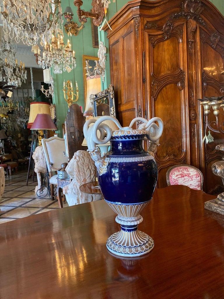 European Large Meissen Porcelain Gilt Cobalt Vase Urn Centerpiece Decorative LA For Sale