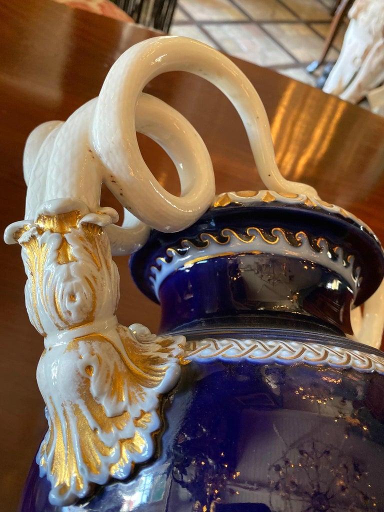 Hand-Crafted Large Meissen Porcelain Gilt Cobalt Vase Urn Centerpiece Decorative LA For Sale