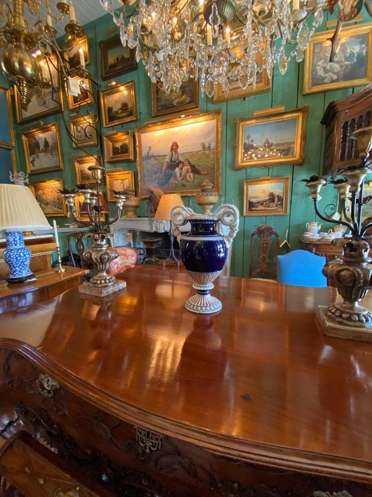 Large Meissen Porcelain Gilt Cobalt Vase Urn Centerpiece Decorative LA For Sale 3