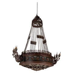 Large, 19th Century Patinated Iron Chandelier