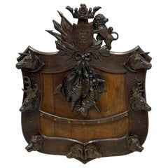 Large 19th Century Swiss Black Forest Carved Walnut Hunt Themed Wall Plaque