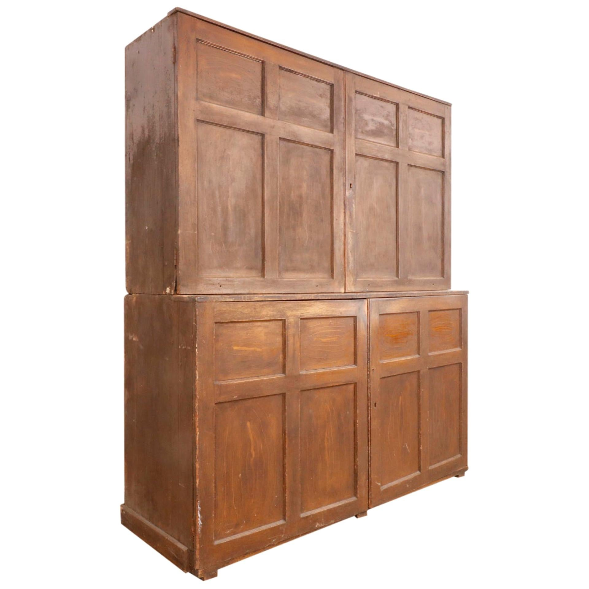 Large 19th Century American Grain Painted Cupboard