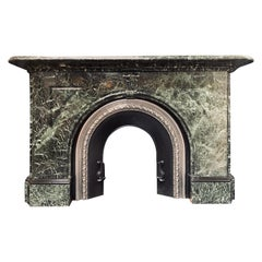 Large 19th Century Arched Verde Antico Marble Fireplace Surround