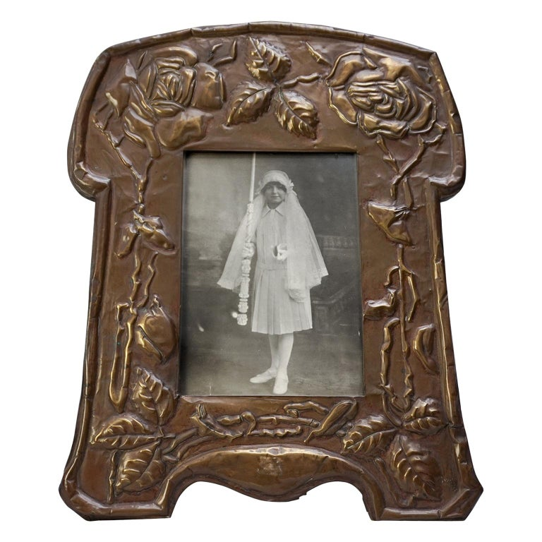 Large 19th Century Art Nouveau Latten Picture Frame Decorated with Roses For Sale