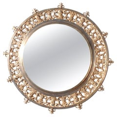 Large 19th Century Baroque Revival Style Gilt-Bronze Round Mirror Frame