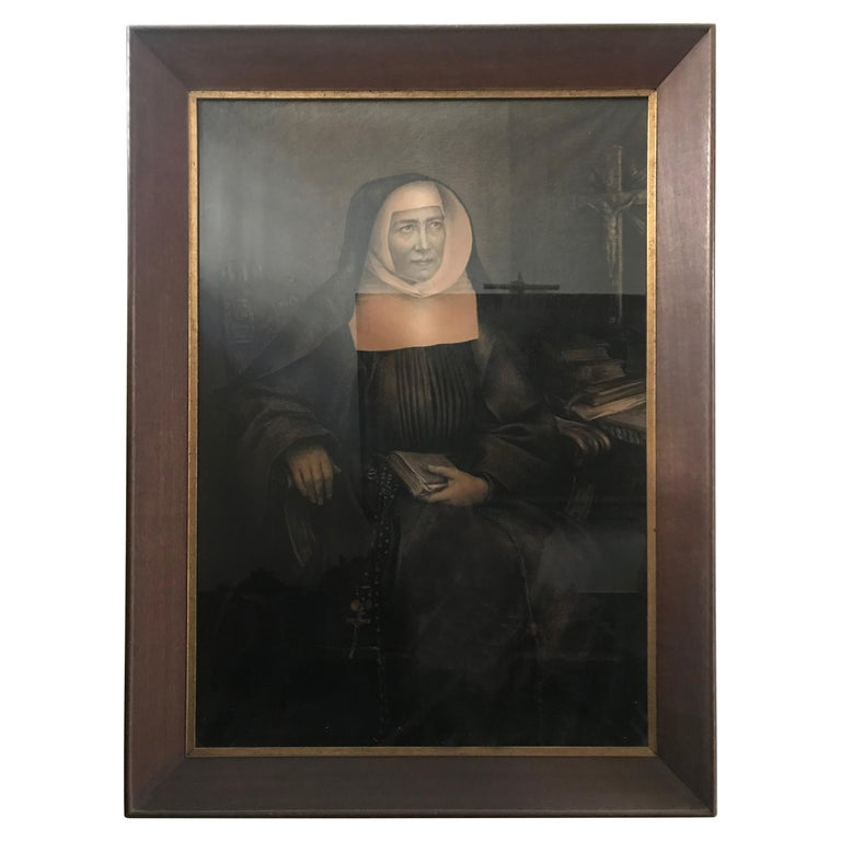 Large 19th Century Belgian Charcoal Drawing of a Seated Nun For Sale